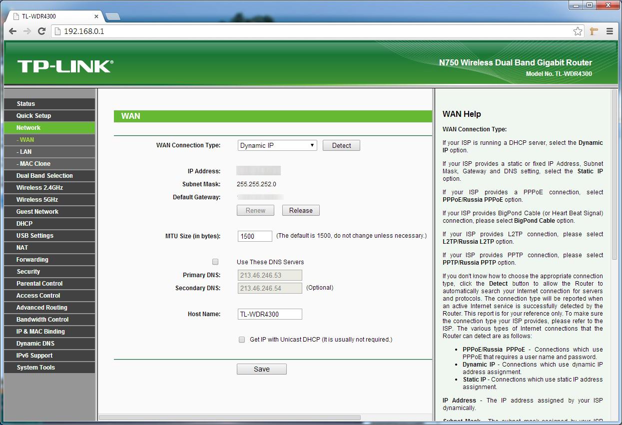 Tp-link TL-WDR4300 router DNS beállítása