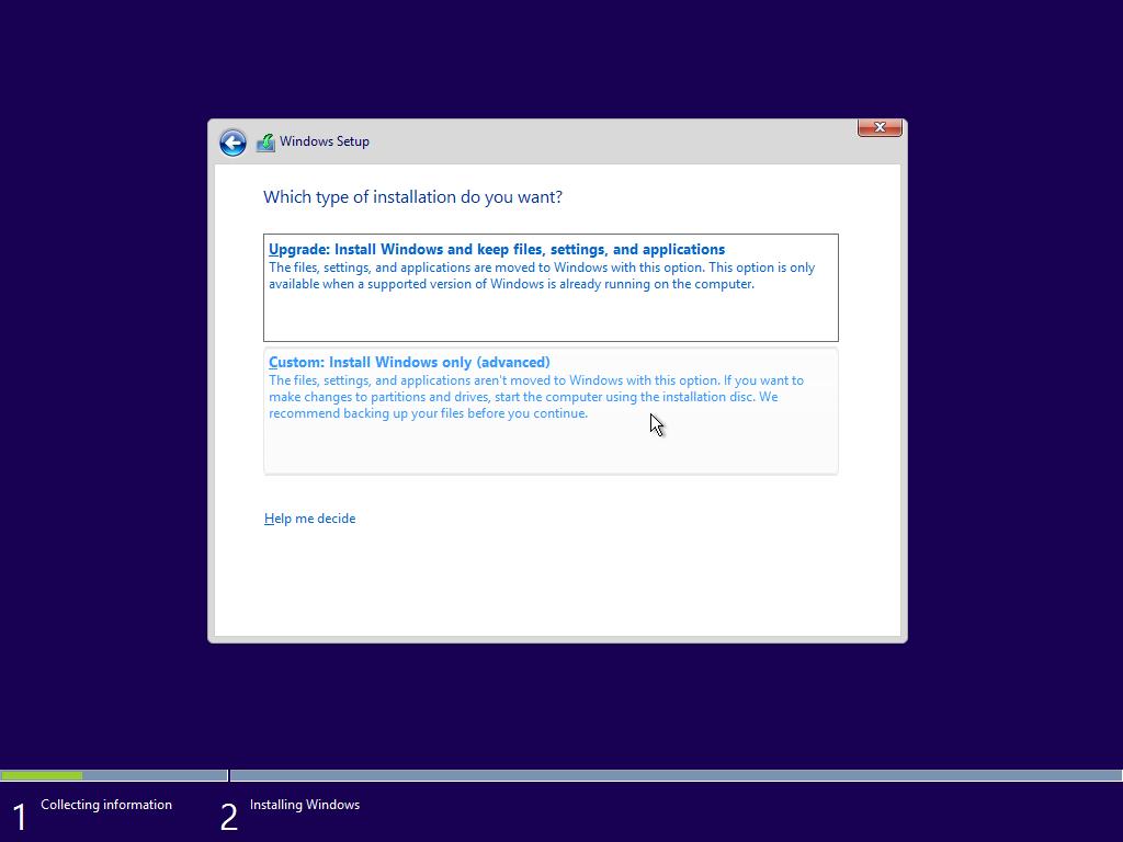 Windows 10 telepítés típusa, frissítés vagy egyedi
