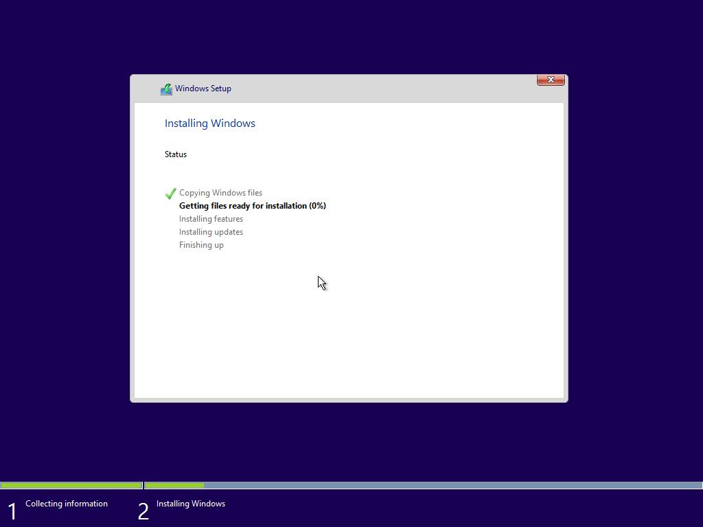 Windows 10 x64 telepítés közben