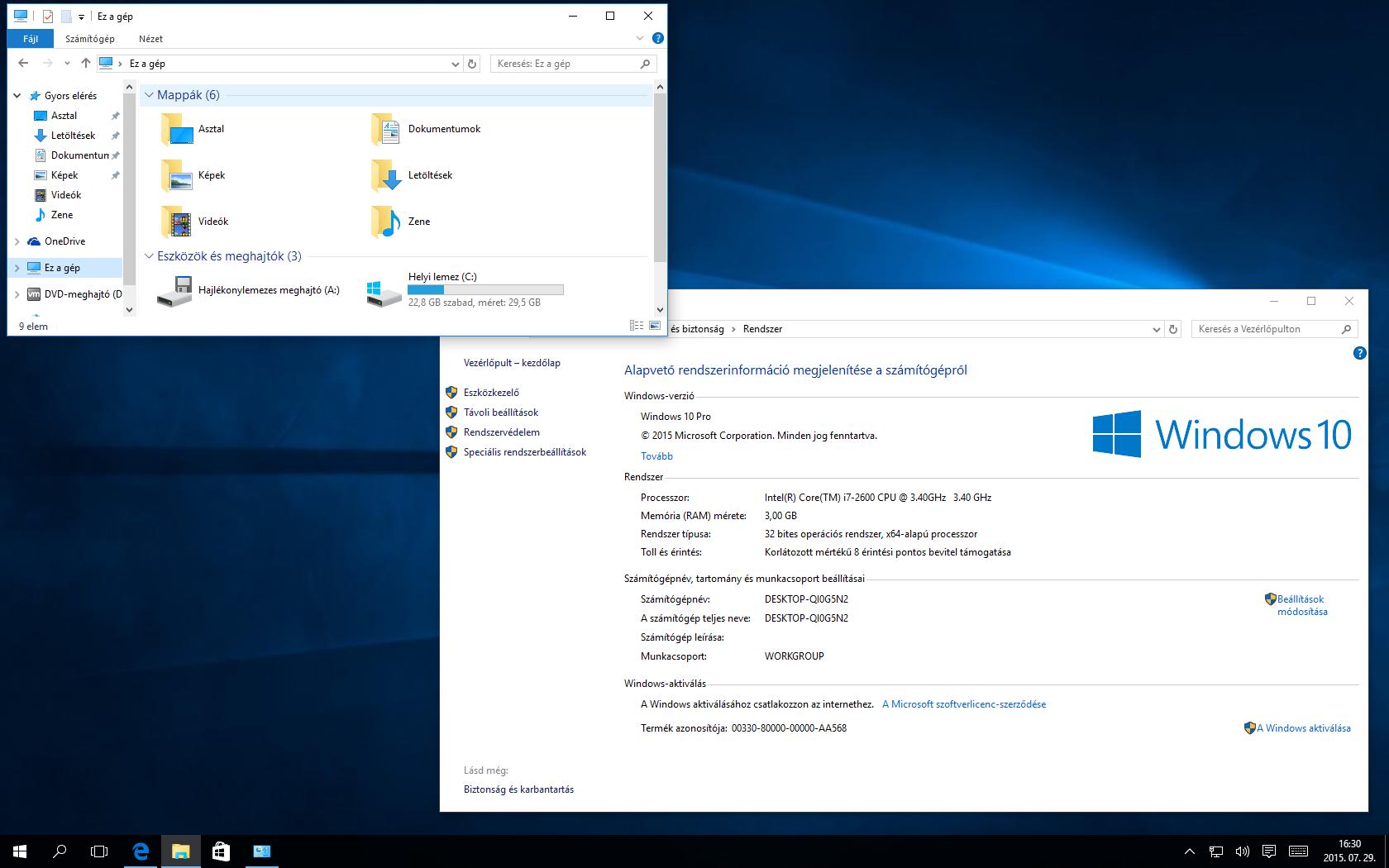 Windows 10 rendszerinfo