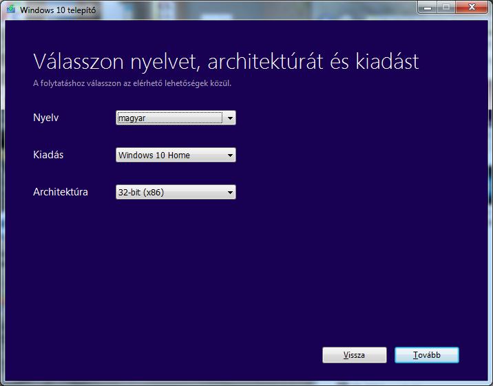 windows 10 telepito letöltése